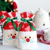 【BlueCat】聖誕節藍鬍鬚老公公禮物袋 糖果袋 包裝袋 束口袋 (1入)