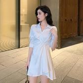 很仙的小眾洋裝女夏裝新款小清新氣質Polo領短袖雪紡襯衫裙 錢夫人