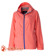 【Wildland 荒野 女款 輕量網布刷毛裡防風外套《粉橘》】52907/防潑水/拆帽/透氣
