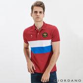 【GIORDANO】男裝世足系列立體徽章短袖POLO衫(俄羅斯) -35 標誌紅