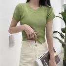 露臍上衣 設計感小眾短款上衣女夏季2021年新款洋氣ins潮短袖T恤針織露臍裝 韓國時尚 618