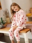 兒童睡衣秋冬季女童寶寶小童女孩家居服加厚套裝大童 扣子小鋪