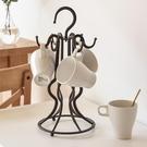 杯架歐式咖啡杯架子鐵藝馬克杯掛架瀝水杯子架創意玻璃杯架置物架   蘑菇街小屋