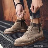 馬丁靴男-馬丁靴男士工裝靴軍靴英倫風復古中幫男靴秋季高幫男鞋子潮鞋短靴 夏沫之戀