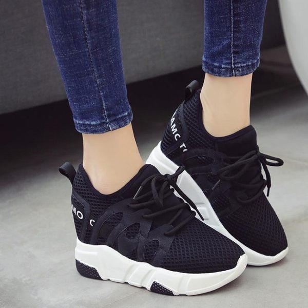 2018夏季韓版內增高鞋女10cm透氣網面夏厚底百搭顯瘦運動鞋 LI1603『毛菇小象』