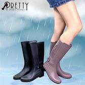 S-21793 女款雨鞋/雨靴 素面簡約拼接金屬皮帶扣長筒雨靴【GREEN PHOENIX】