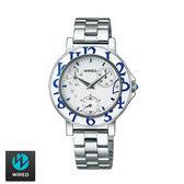 WIRED SEIKO副牌 藍色數字跳耀愛心鋼帶女錶 33mm 星期日期盤 VD76-KH80S AP5025X1 | 名人鐘錶