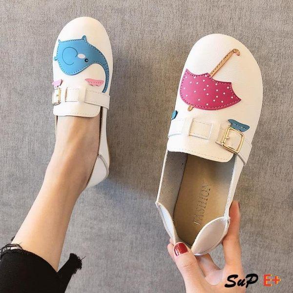 娃娃鞋 軟底豆豆鞋 圓頭 可愛 大頭 娃娃鞋 平底兩穿 一腳蹬單鞋