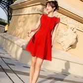 (工廠直銷不退換)9902#夏季新款木耳法式連身裙小香風大氣荷葉邊無袖連身裙G-326-B韓依戀