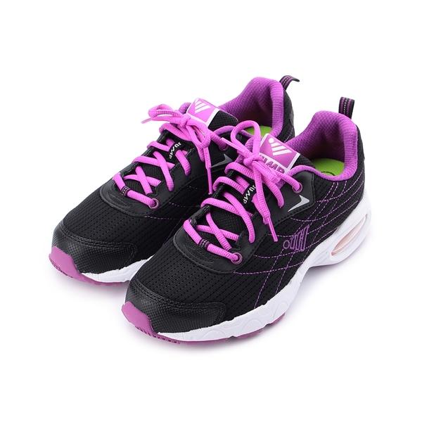 JUMP 綁帶反光氣墊跑鞋 黑紫 JM316 女鞋 鞋全家福