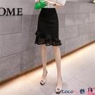 熱賣半身魚尾裙 黑色包裙女半身裙2021夏季新款高腰復古蕾絲拼接荷葉邊彈力魚尾裙 coco