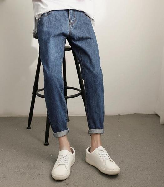 FINDSENSE MD 時尚 男 韓國 彈力 藍色 簡約 小腳褲 休閒褲 牛仔