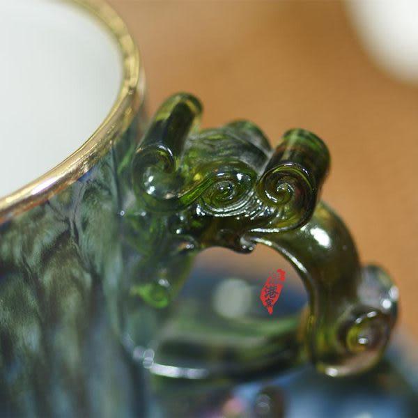 鹿港窯~ 陶瓷琉璃耳馬克杯系列【金邊綠點馬克杯】附精美包裝◆免運費送到家