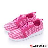 美國AIRWALK  比麗 蜂巢式格紋洞洞休閒慢跑鞋 - 女紅