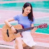 41寸初學者民謠吉他指彈學生男女款40寸新手入門378寸木吉他練習琴【七七特惠全館七八折】