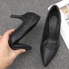 皮鞋 高跟鞋黑色細跟職業鞋舒適軟面小皮鞋百搭酒店面試軟底工作鞋女交換禮物