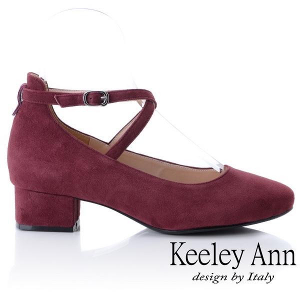 ★2018秋冬★Keeley Ann氣質甜美~交叉細帶粗跟全真皮瑪莉珍鞋(酒紅色)