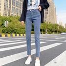 窄管褲 牛仔褲女夏季百搭高腰修身顯瘦薄款緊身鉛筆九分小腳褲-Ballet朵朵