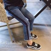 女童牛仔褲 甜美側邊黑條褲口流蘇小喇叭長褲 QB allshine