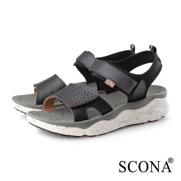 SCONA 蘇格南 真皮 運動休閒舒適涼鞋-男款 黑色 1752-1