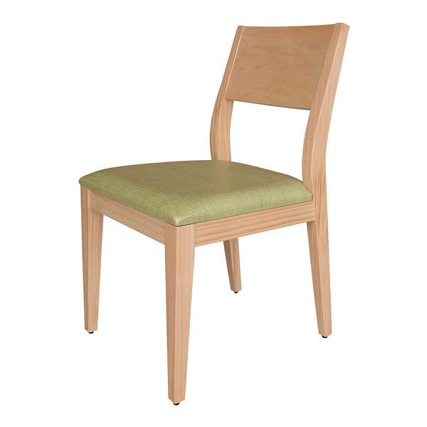 【森可家居】喬伊原木餐椅(綠亞麻紋皮) 8HY456-05