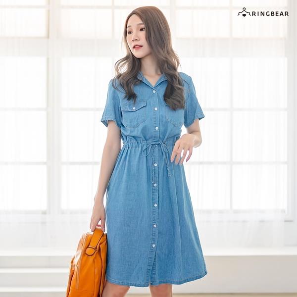 連身裙--簡約時尚質感襯衫領排扣抽繩綁帶水洗牛仔長洋裝(藍M-3L)-D572眼圈熊中大尺碼