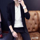 開衫 秋毛衣男士針織衫外套中長款風衣韓版修身線衣線衫英倫大衣 df10148【Sweet家居】
