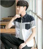 夏季男士短袖襯衫韓版修身帥氣襯衣青少年潮流休閒學生男生寸衫