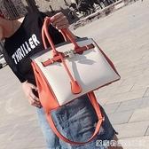 手提包女流行新款潮撞色大容量手提包韓版百搭時尚單肩托特包
