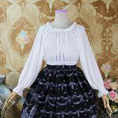春季上新 春秋季新品lolita洋裝jsk雪紡長袖襯衫一字肩內搭軟妹短款打底衫