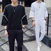 男士休閒運動套裝夏季新品新品日韓潮流兩件套個性一套薄款