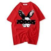 Taigee港味潮牌ulzzang街頭學院風chic韓國搞怪兔子寬松純棉T恤女