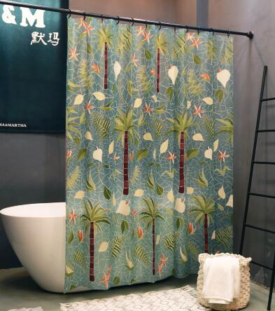 默瑪EVA防水防霉衛生間隔斷簾浴室掛簾淋浴間洗澡簾子浴簾棕櫚樹 NMS名購新品