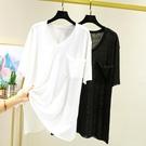 棉麻上衣 棉麻短袖t恤女夏季大碼寬鬆V領顯瘦半袖韓版薄款休閒百搭純色上衣涼感