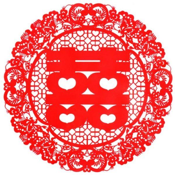 結婚雙喜貼 囍字靜電貼 結婚用牆貼 窗貼 (蝴蝶雙喜)-艾發現