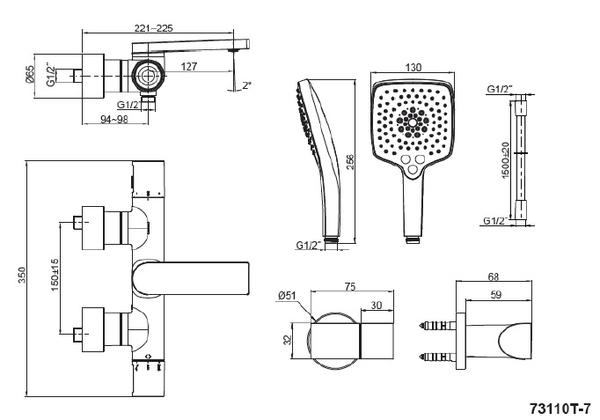 【麗室衛浴】美國 KOHLER 新品上市 COMPOSED系列浴缸花灑龍頭 K-73110T-7-CP目錄及說明書