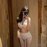 泳衣女性感分體比基尼遮肚顯瘦深V聚攏修身度假溫泉游泳裝【貼身日記】