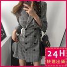 ◆ 顏色 / 如圖  ◆ 尺碼 / M、L◆ 材質 / 聚酯纖維◆ 性感帥氣英倫西裝連身裙✨