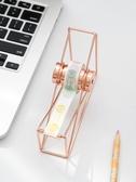 簡約金屬膠帶切割器底座時尚北歐風玫瑰金膠帶切割器電鍍鏤空桌面工藝擺件