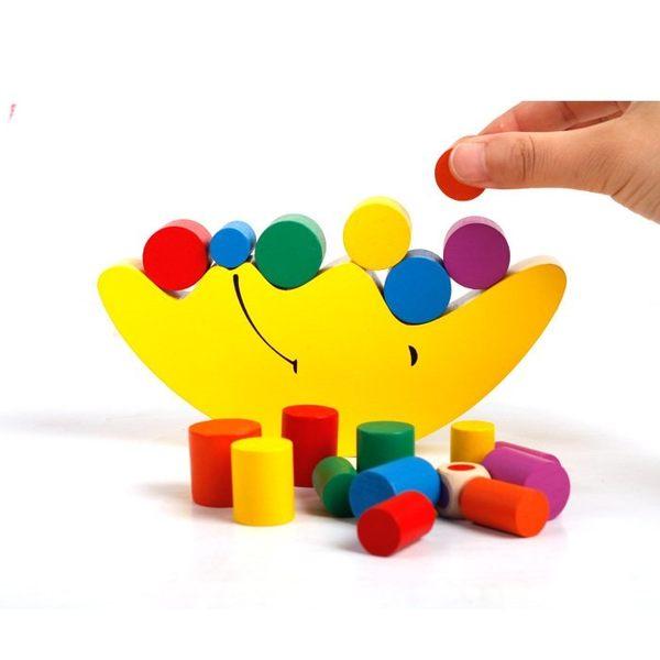 蒙氏早教益智木制積木 月亮平衡親子游戲幼兒園寶寶早教玩具推薦