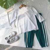 韓國秋裝兒童白色長袖t恤女童純棉寶寶男童體恤嬰兒打底衫韓版 晴天時尚館