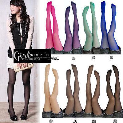【QF022】魔衣子-糖果色透膚感彈性褲襪
