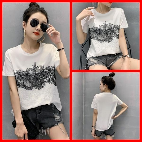氣質黑白蕾絲貼花圓領短袖寬鬆顯瘦女上衣T恤 依米迦
