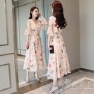 雪紡碎花洋裝女裝2021夏季新款氣質仙女裙收腰顯瘦中長款長裙子 小時光生活館