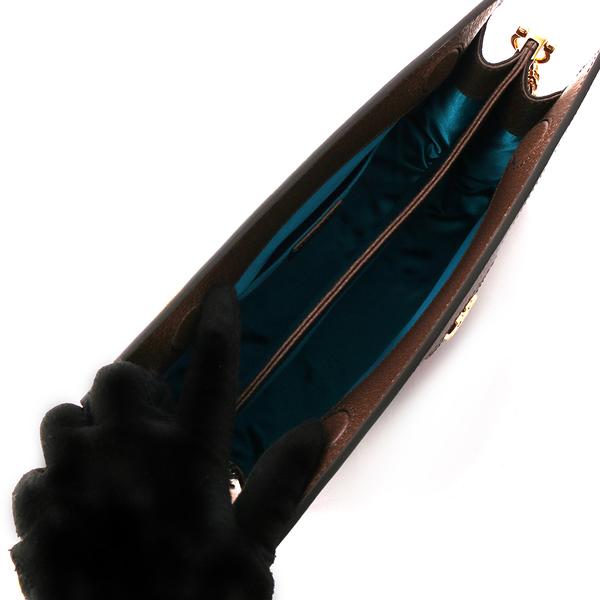 【GUCCI】Ophidia GG綠紅綠皮革飾邊鏈包(粟子色) 503877 K05NG 8745