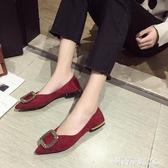 豆豆鞋 平底豆豆鞋女夏新款2020年春季粗跟尖頭低跟方扣夏季淺口單鞋春 米希美衣
