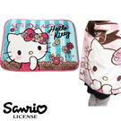 【日本進口正版】凱蒂貓 Hello Kitty 藍色條紋款 絨毛 披肩 毛毯 毯子 三麗鷗 Sanrio - 417840