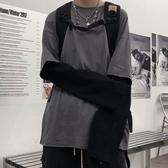長袖 2019秋季假兩件連帽T恤長袖男生T恤嘻哈寬鬆bf上衣 小天後