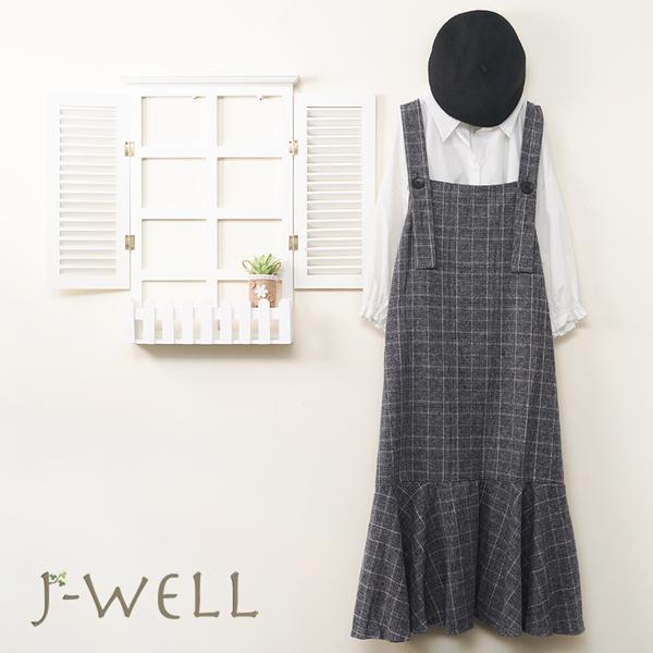 J-WELL 素面小澎袖上衣兩穿吊帶洋二件組(組合A487 8J1390灰格+9J1053白)