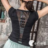 運動上衣-夏新款彈力修身短袖運動T恤女 透氣速干跑步健身服上衣顯瘦瑜伽服-奇幻樂園